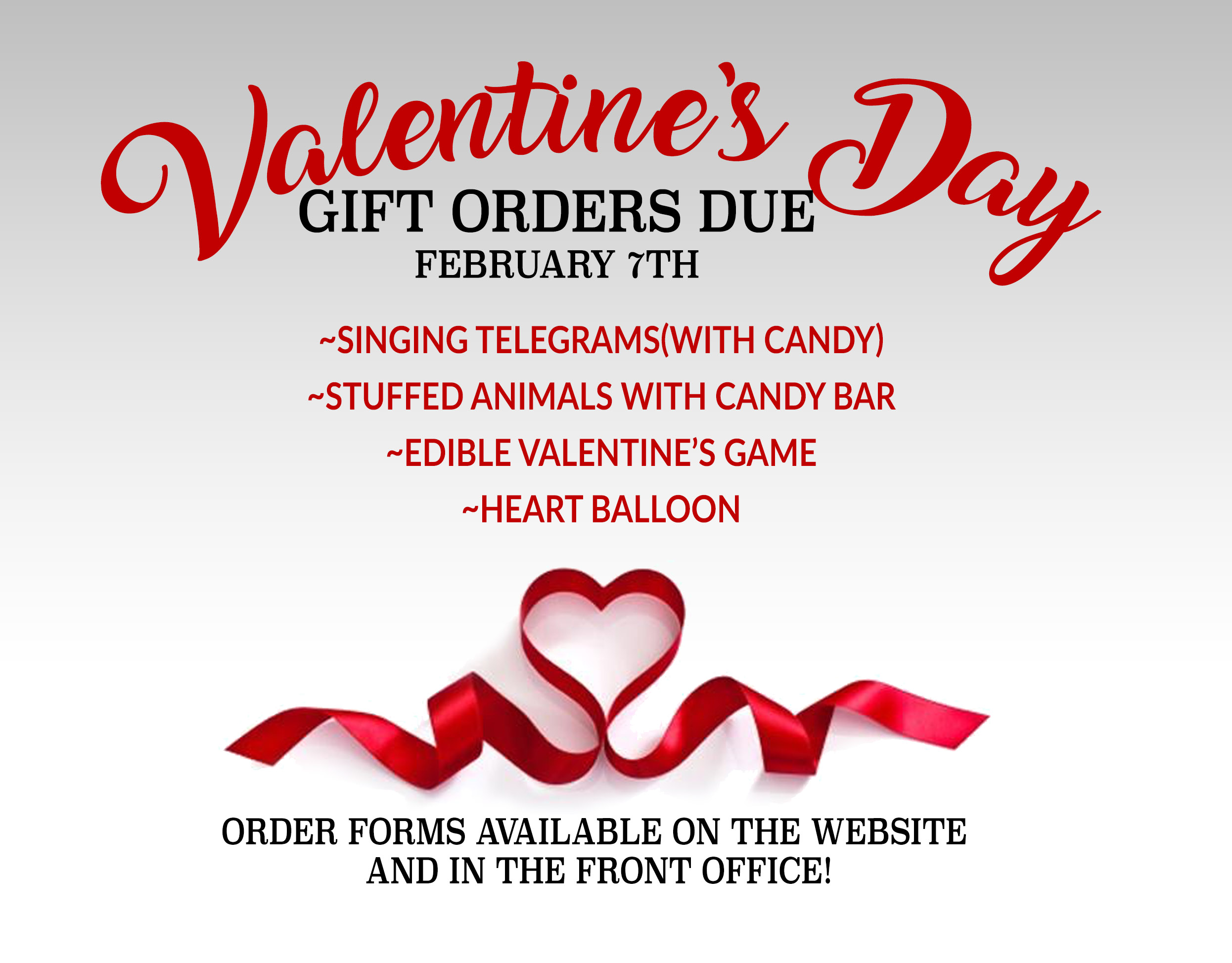 Valentine's Day Gift Orders Due Soon!